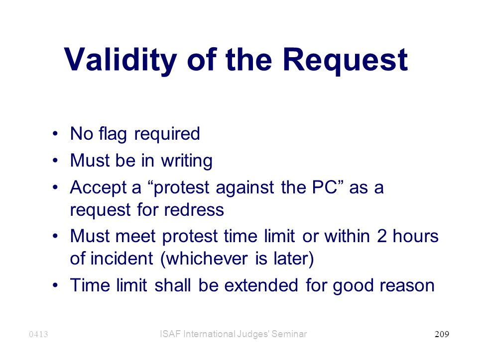 Validity of the Request