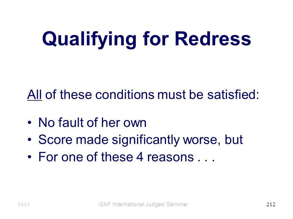 Qualifying for Redress
