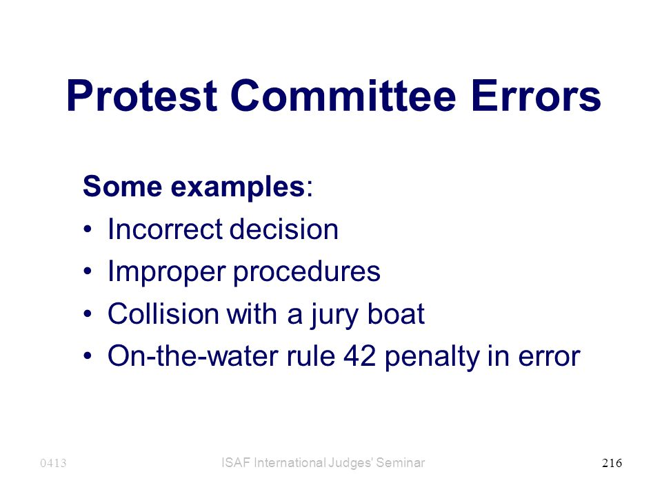 Protest Committee Errors