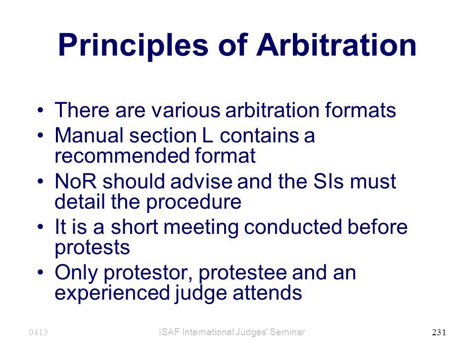 Principles of Arbitration