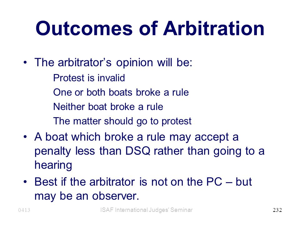 Outcomes of Arbitration
