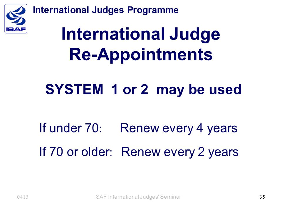 International Judge Re-Appointments