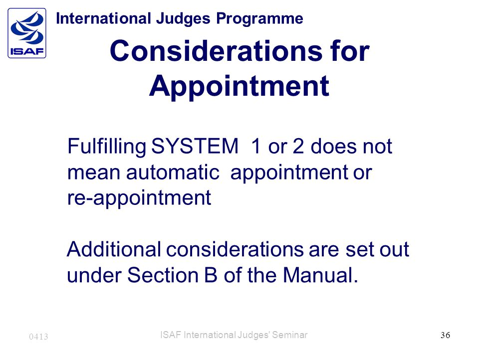 Considerations for Appointment