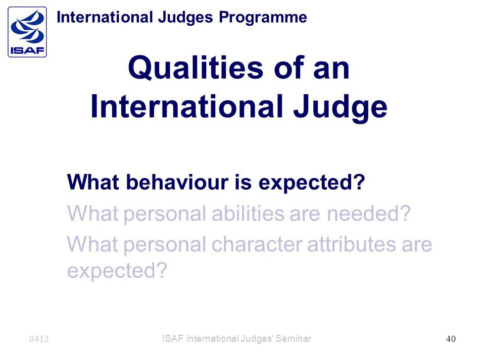 Qualities of an International Judge