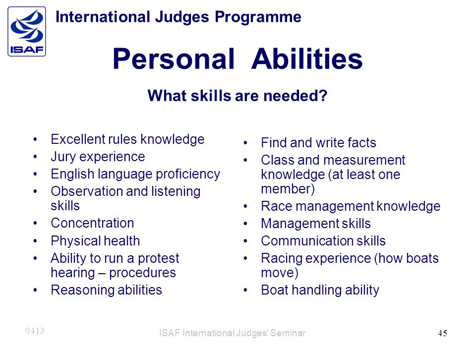 Personal Abilities What skills are needed