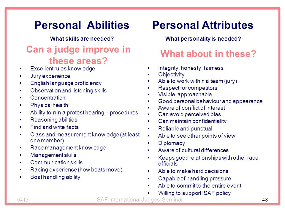 Personal Attributes What personality is needed
