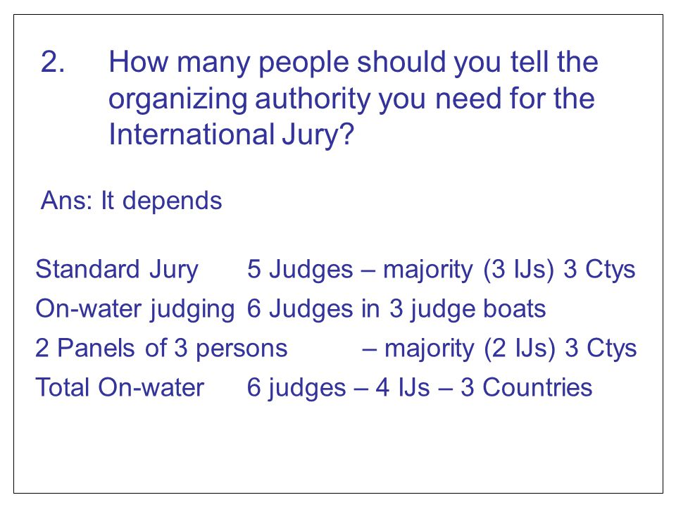 2. How many people should you tell the organizing authority you need for the International Jury
