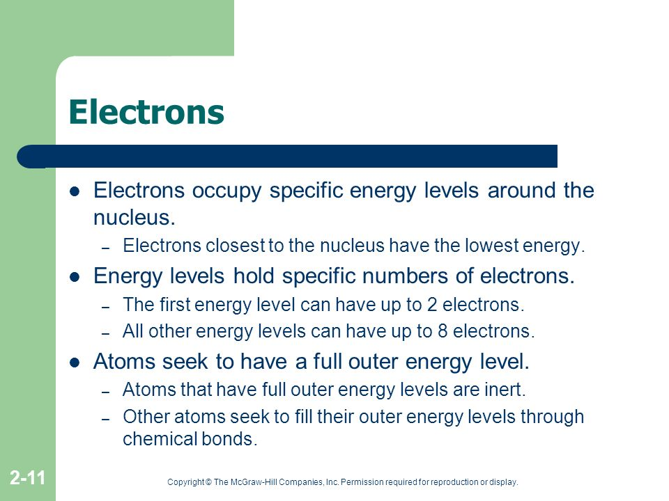 Electrons Electrons occupy specific energy levels around the nucleus.
