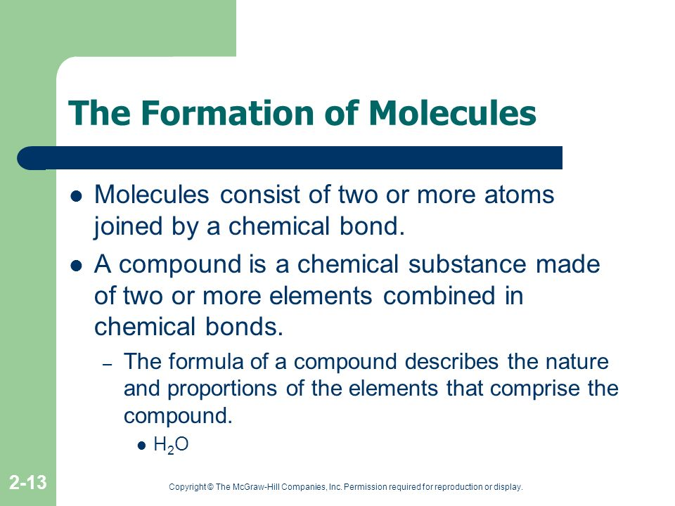 The Formation of Molecules