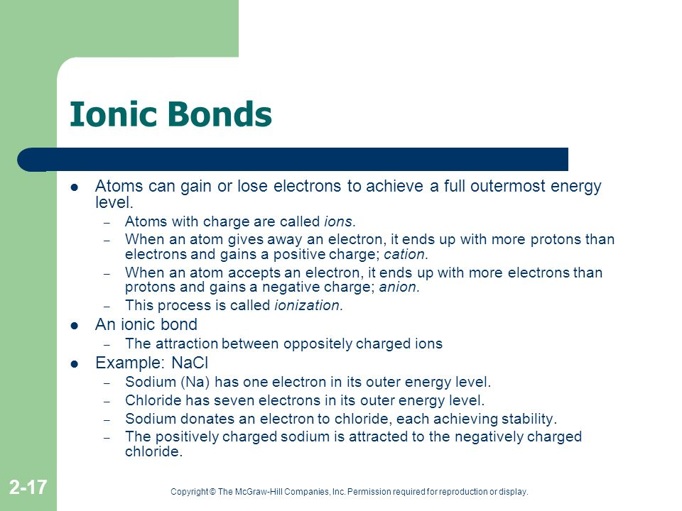 Ionic Bonds Atoms can gain or lose electrons to achieve a full outermost energy level. Atoms with charge are called ions.