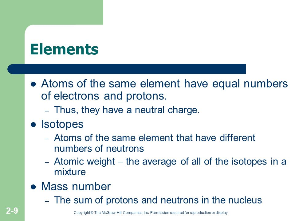 Elements Atoms of the same element have equal numbers of electrons and protons. Thus, they have a neutral charge.