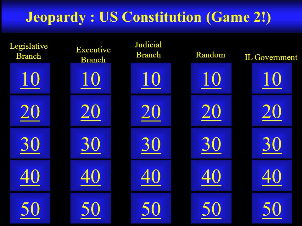 Jeopardy : US Constitution (Game 2!)