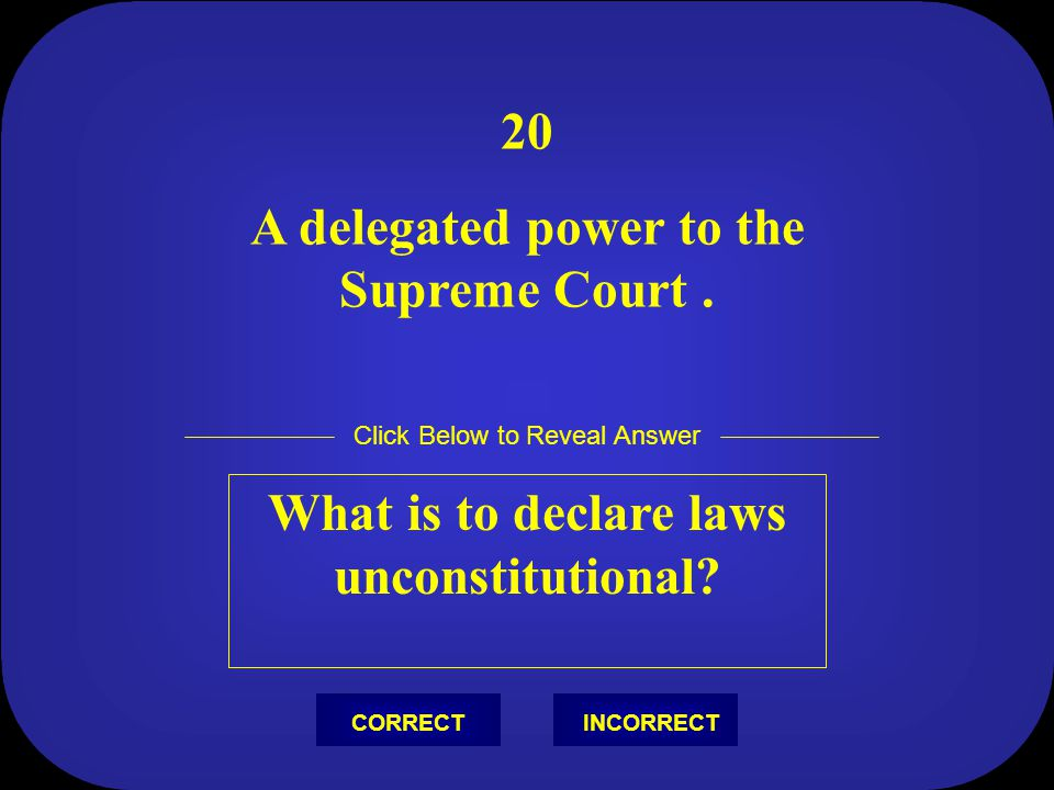 A delegated power to the Supreme Court .