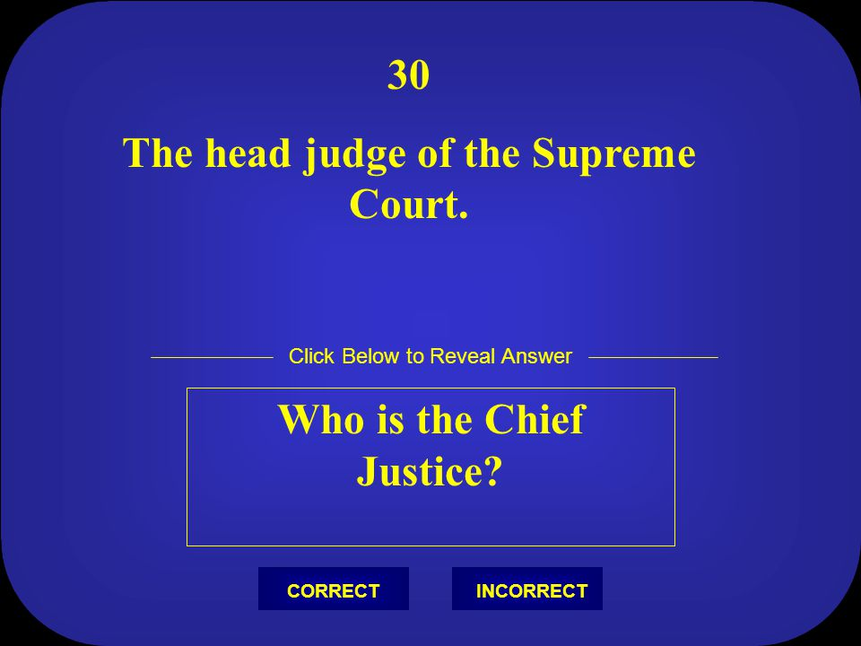 The head judge of the Supreme Court. Who is the Chief Justice