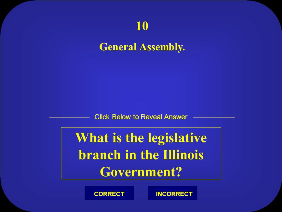 What is the legislative branch in the Illinois Government