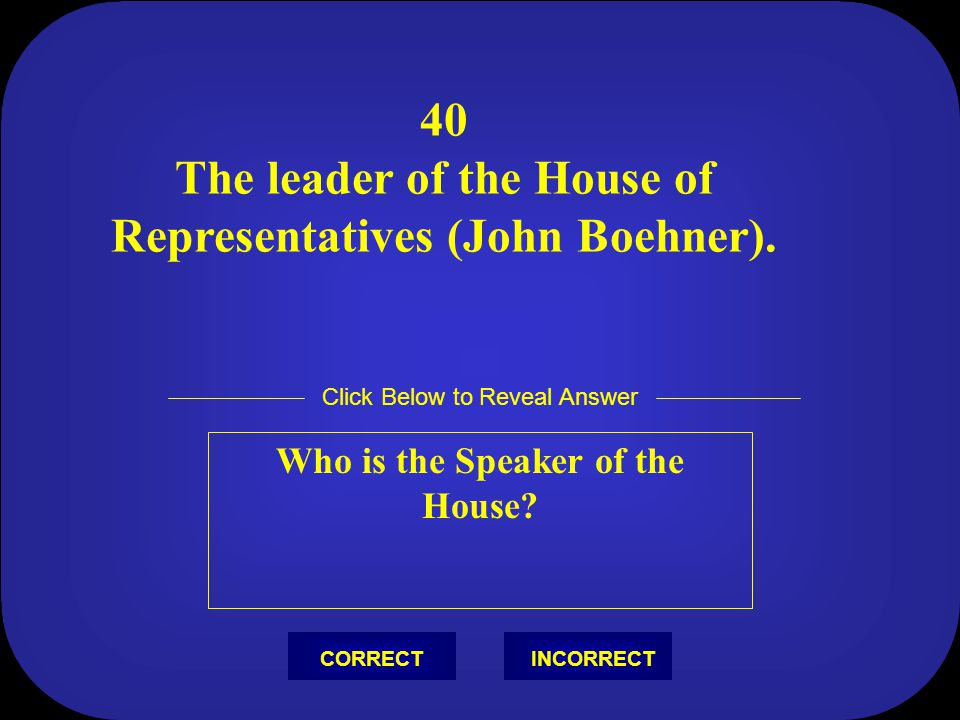 40 The leader of the House of Representatives (John Boehner).