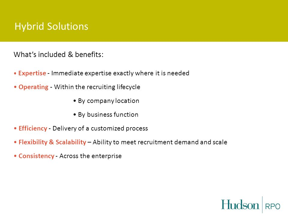 Hybrid Solutions What's included & benefits: