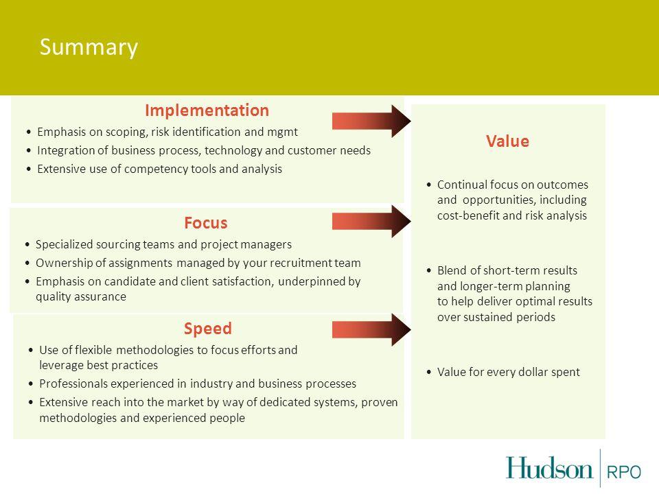 Summary Implementation Value Focus Speed