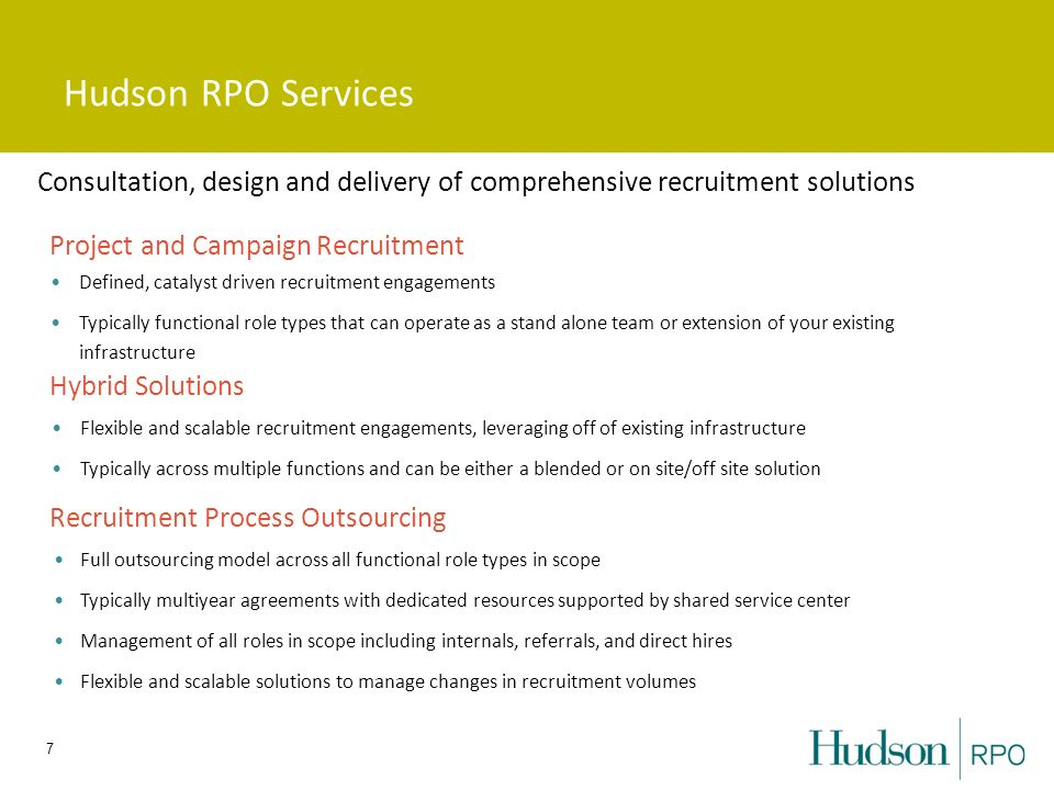 Hudson RPO Services Consultation, design and delivery of comprehensive recruitment solutions. Project and Campaign Recruitment.