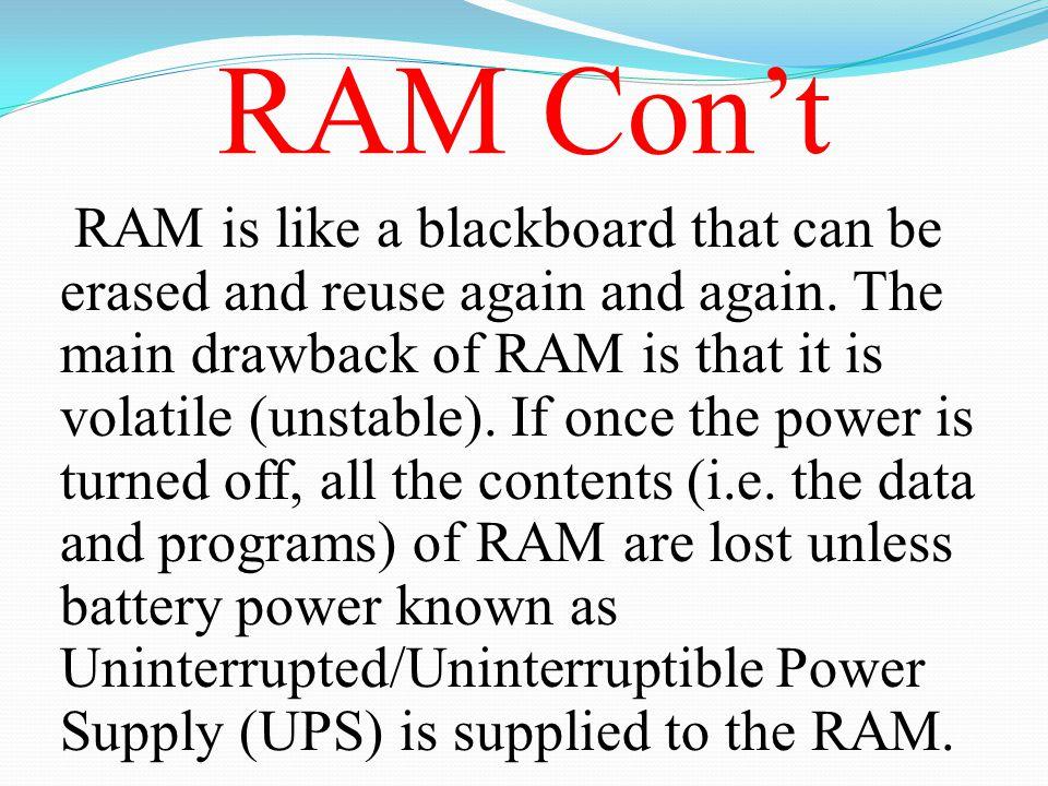 RAM Con't
