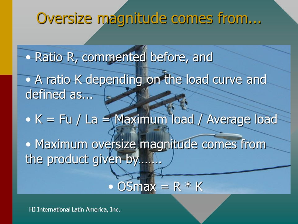 Oversize magnitude comes from...