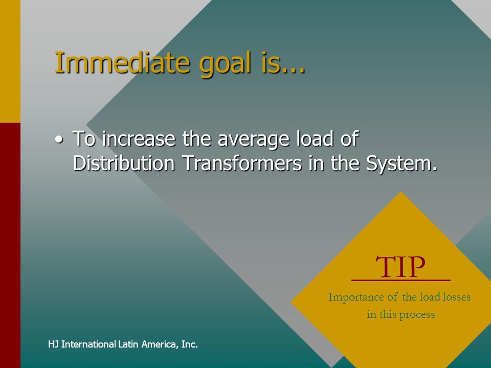 Immediate goal is... To increase the average load of Distribution Transformers in the System. TIP.