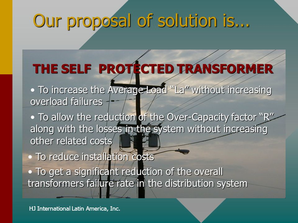 Our proposal of solution is...