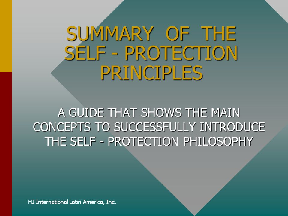 SUMMARY OF THE SELF - PROTECTION PRINCIPLES