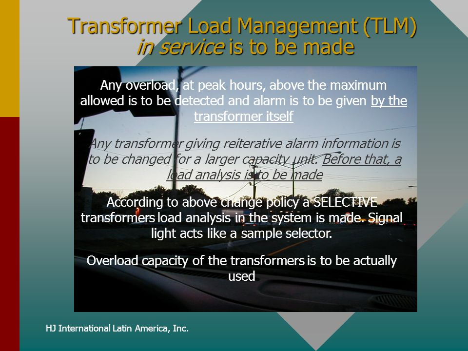 Transformer Load Management (TLM) in service is to be made