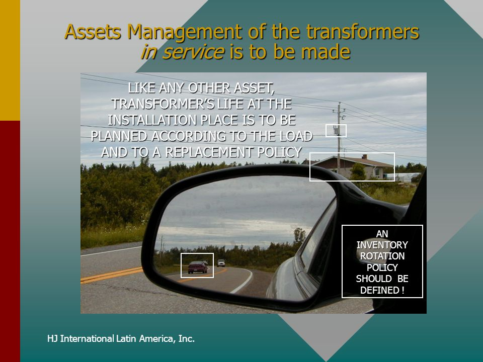 Assets Management of the transformers in service is to be made