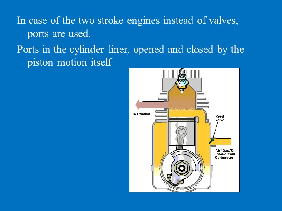 In case of the two stroke engines instead of valves, ports are used.