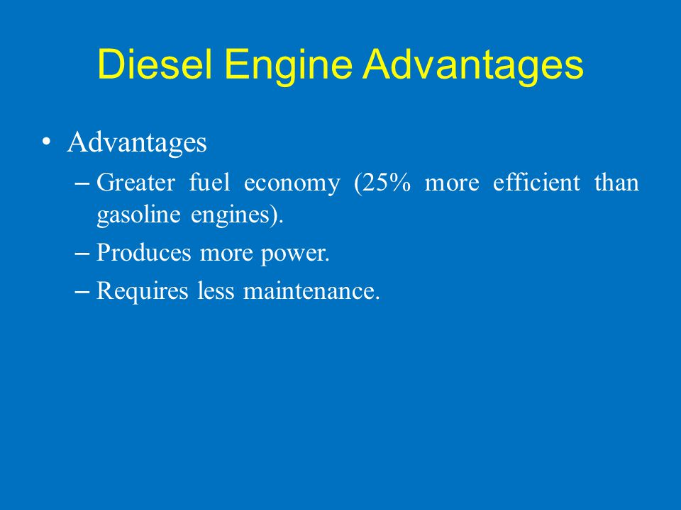 Diesel Engine Advantages