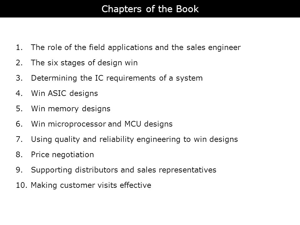 Chapters of the Book