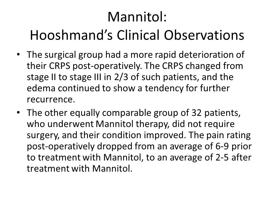 Mannitol: Hooshmand's Clinical Observations