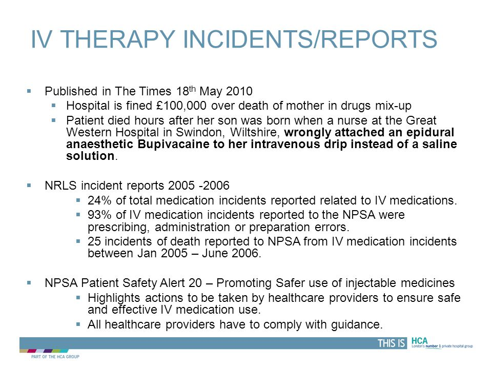 IV Therapy incidents/reports