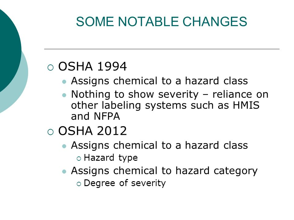 SOME NOTABLE CHANGES OSHA 1994 OSHA 2012