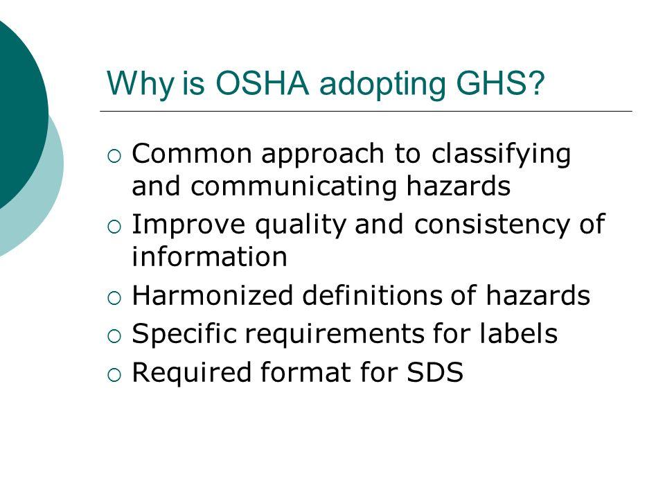 Why is OSHA adopting GHS