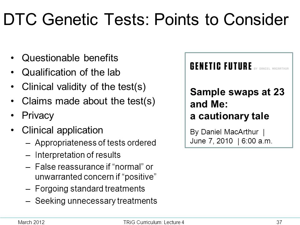 DTC Genetic Tests: Points to Consider
