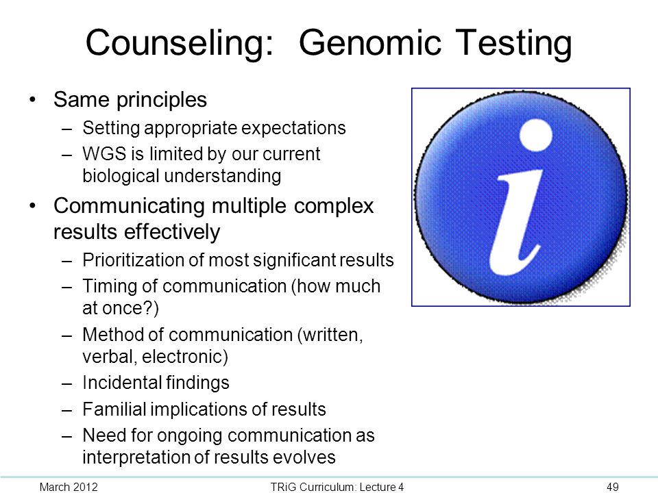 Counseling: Genomic Testing