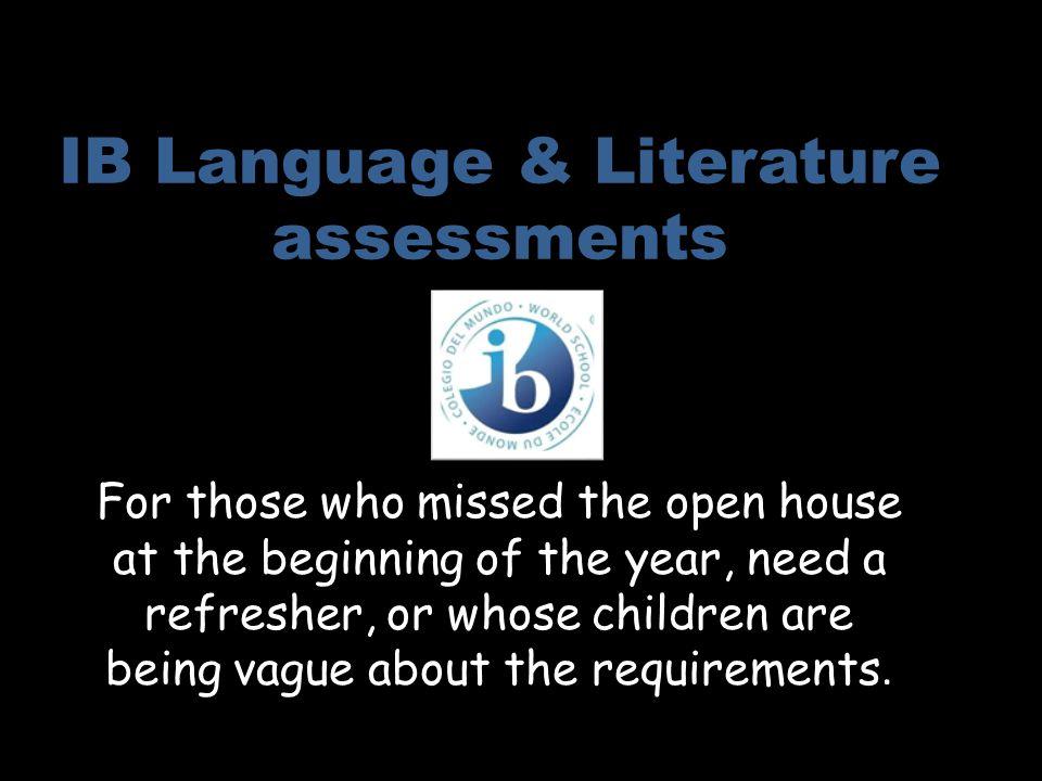 IB Language & Literature assessments