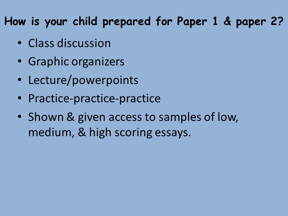 How is your child prepared for Paper 1 & paper 2