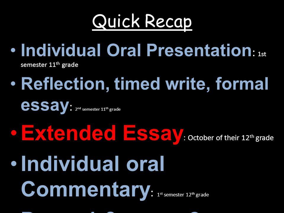 Extended Essay: October of their 12th grade