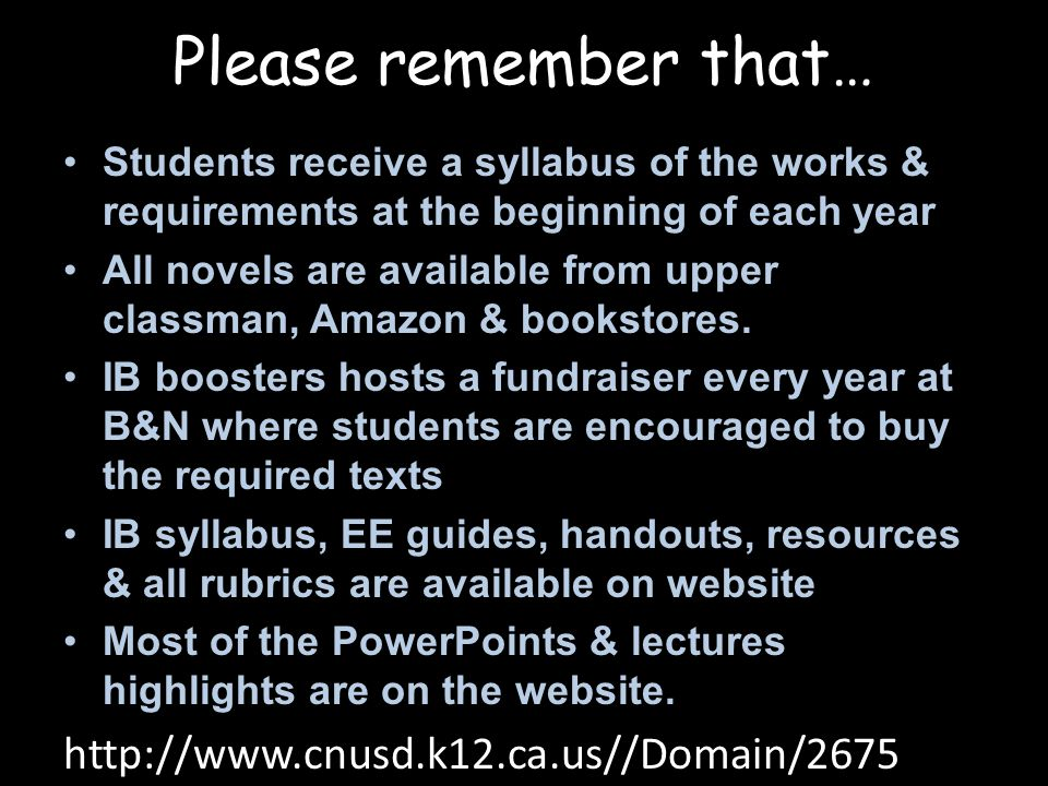Please remember that… http://www.cnusd.k12.ca.us//Domain/2675