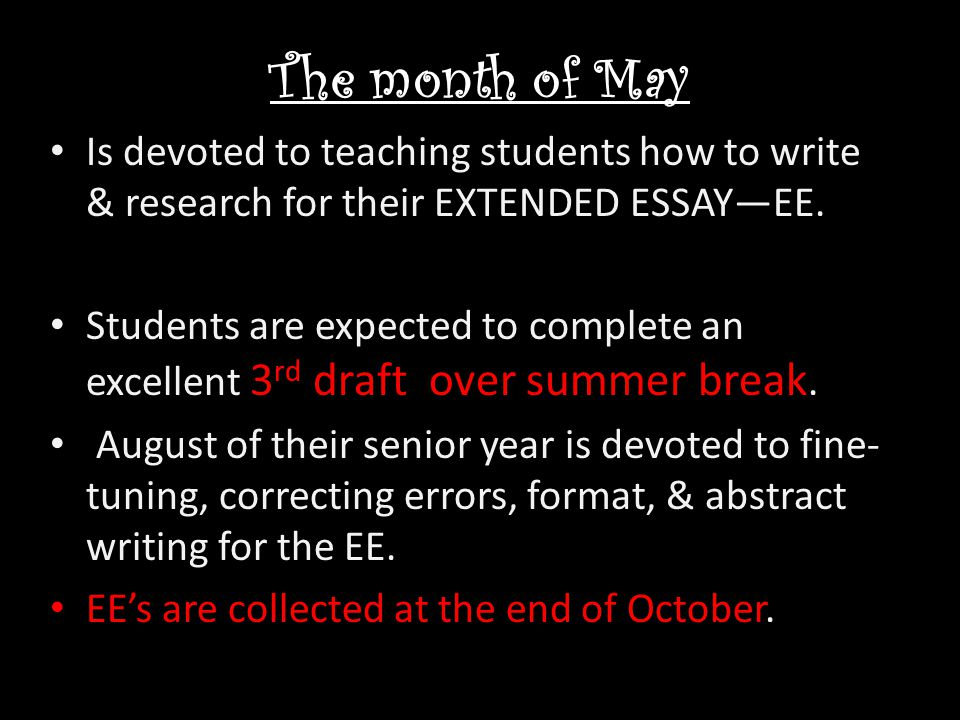 The month of May Is devoted to teaching students how to write & research for their EXTENDED ESSAY—EE.