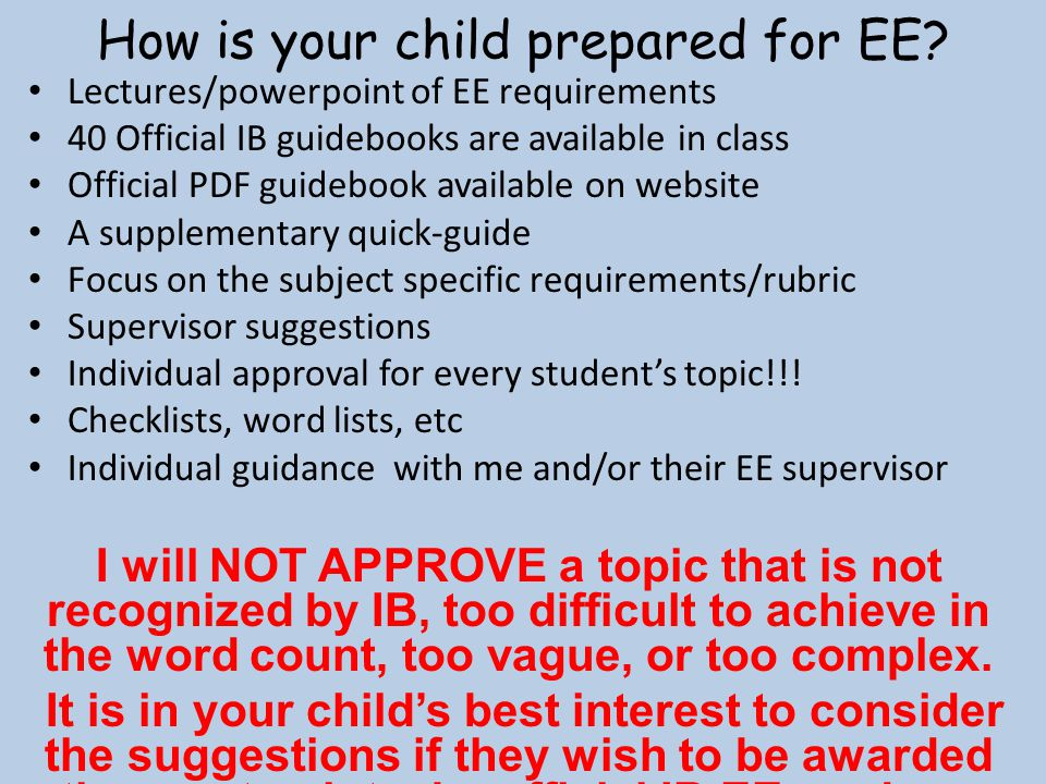 How is your child prepared for EE