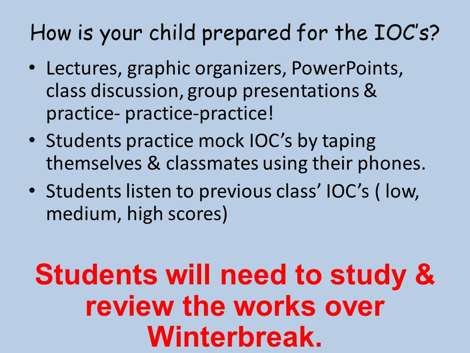 How is your child prepared for the IOC's
