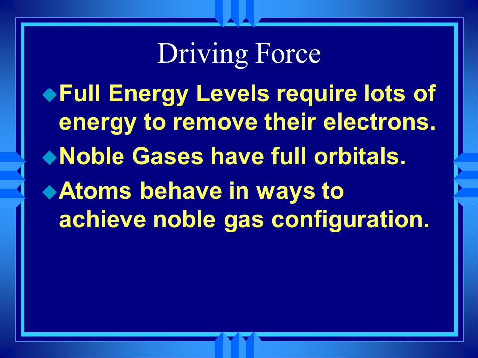 Driving Force Full Energy Levels require lots of energy to remove their electrons. Noble Gases have full orbitals.