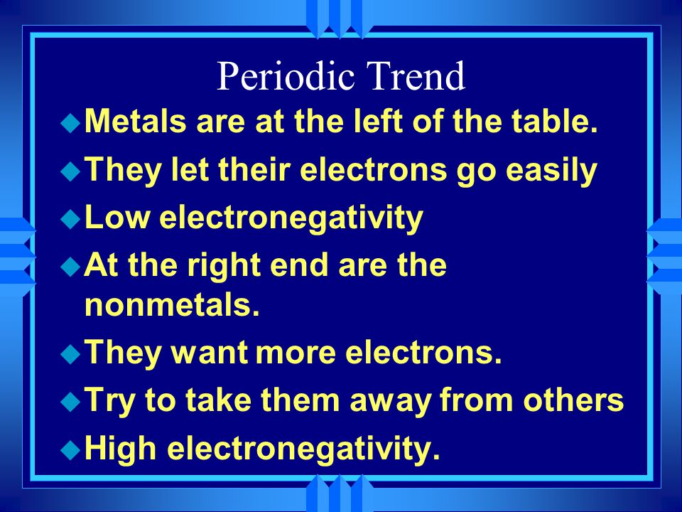 Periodic Trend Metals are at the left of the table.