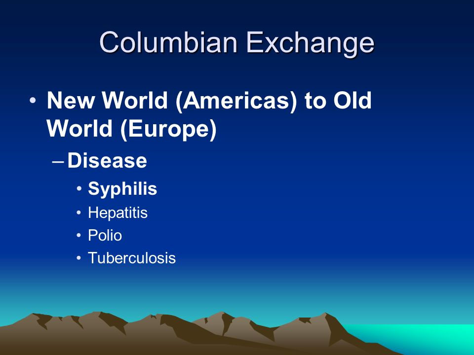Columbian Exchange New World (Americas) to Old World (Europe) Disease