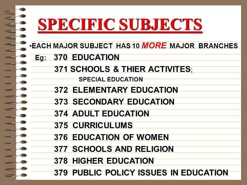 SPECIFIC SUBJECTS 371 SCHOOLS & THIER ACTIVITES;